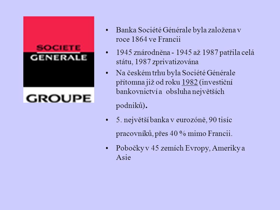 Banka Société Générale byla založena v roce 1864 ve Francii