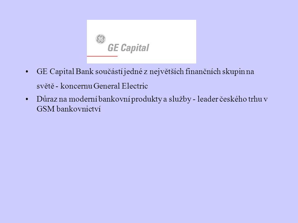 GE Capital Bank součástí jedné z největších finančních skupin na světě - koncernu General Electric