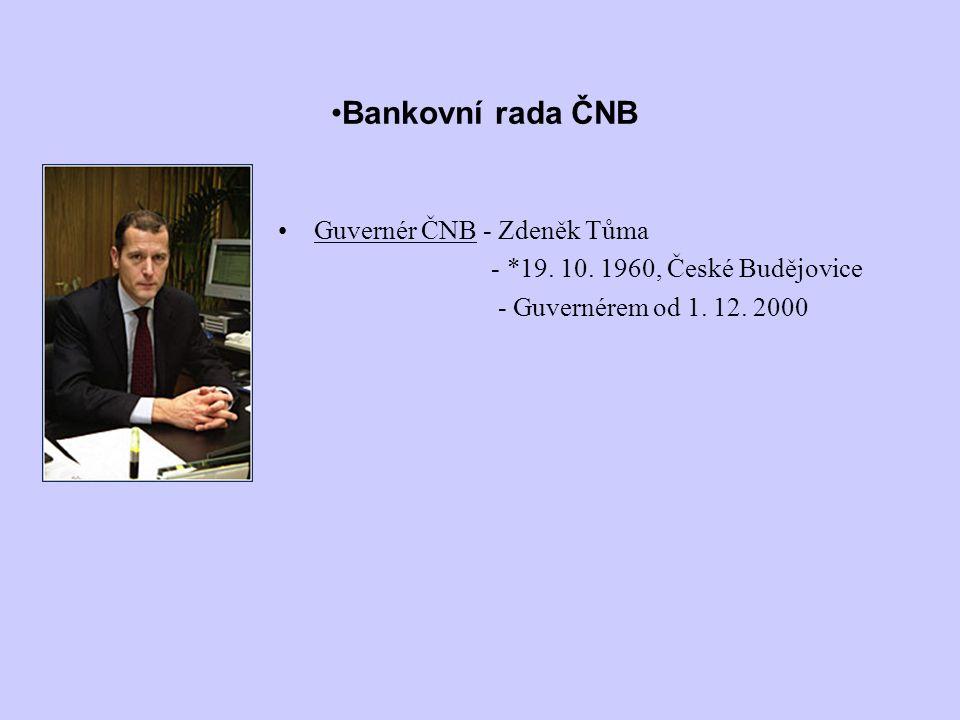 Bankovní rada ČNB Guvernér ČNB - Zdeněk Tůma