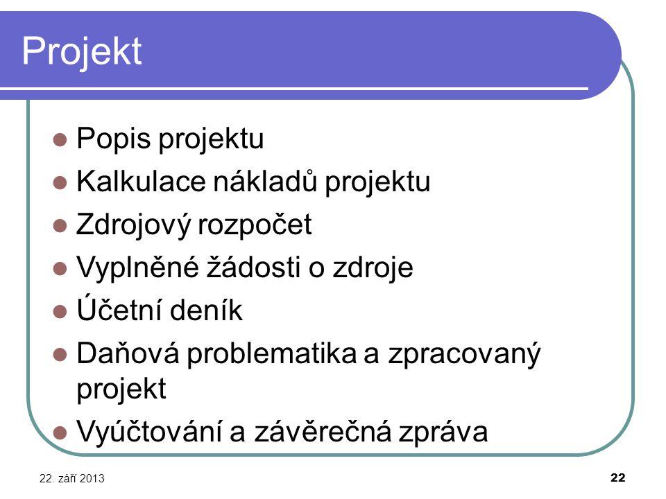Projekt Popis projektu Kalkulace nákladů projektu Zdrojový rozpočet