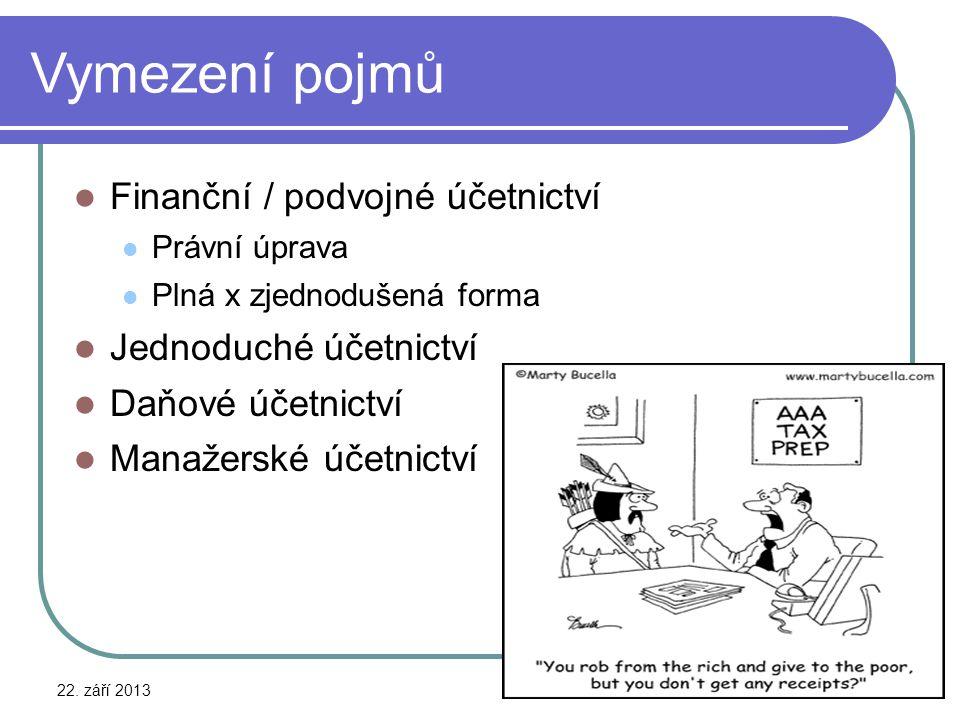 Vymezení pojmů Finanční / podvojné účetnictví Jednoduché účetnictví