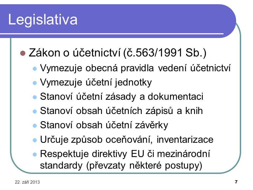 Legislativa Zákon o účetnictví (č.563/1991 Sb.)