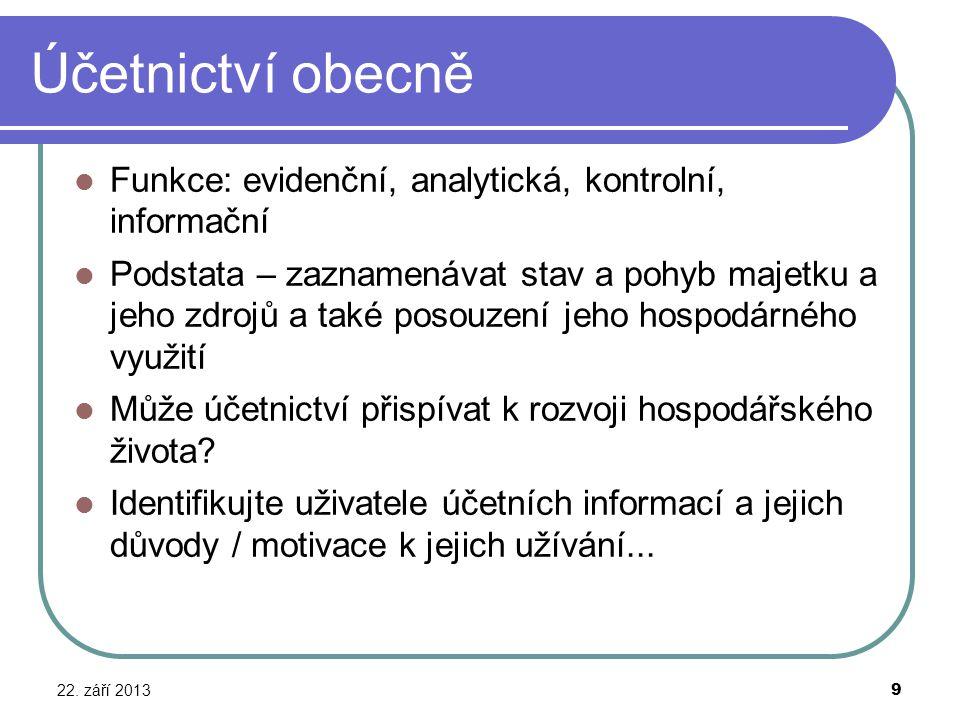 Účetnictví obecně Funkce: evidenční, analytická, kontrolní, informační