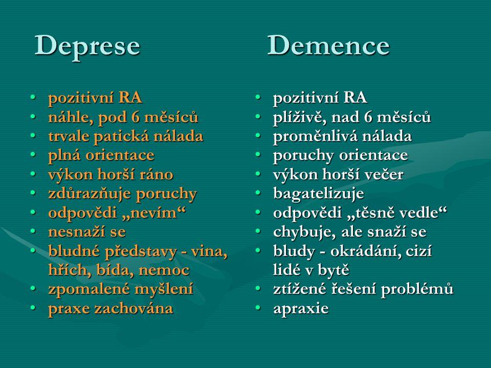 Deprese Demence pozitivní RA náhle, pod 6 měsíců trvale patická nálada