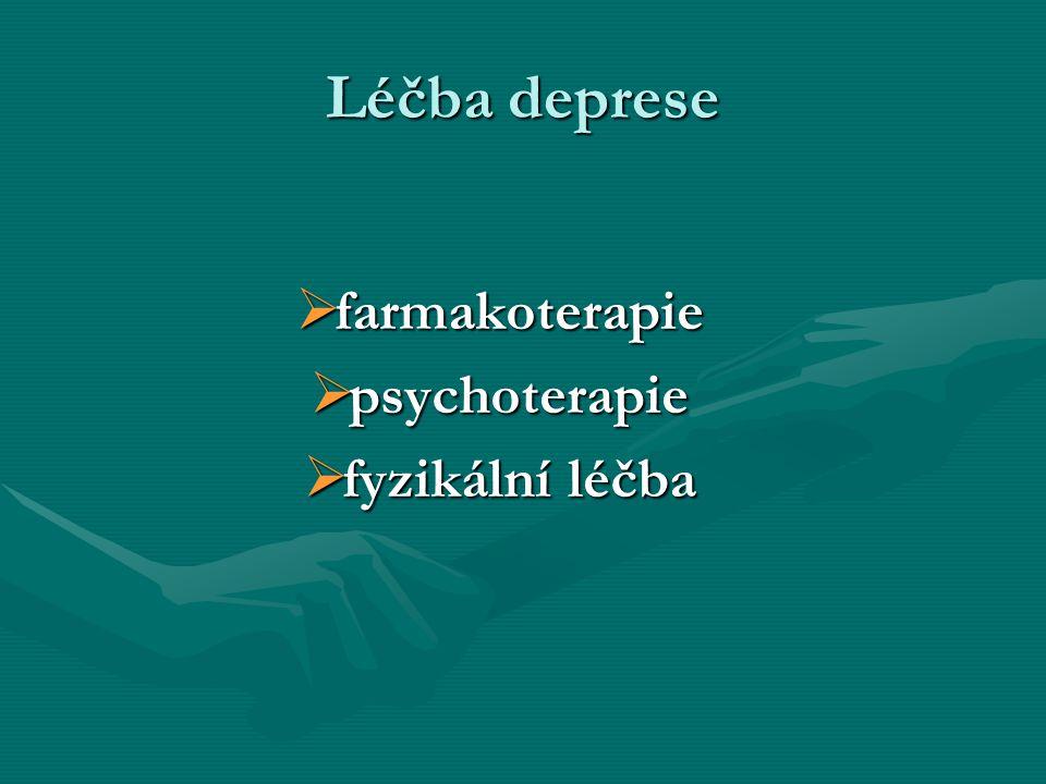 Léčba deprese farmakoterapie psychoterapie fyzikální léčba