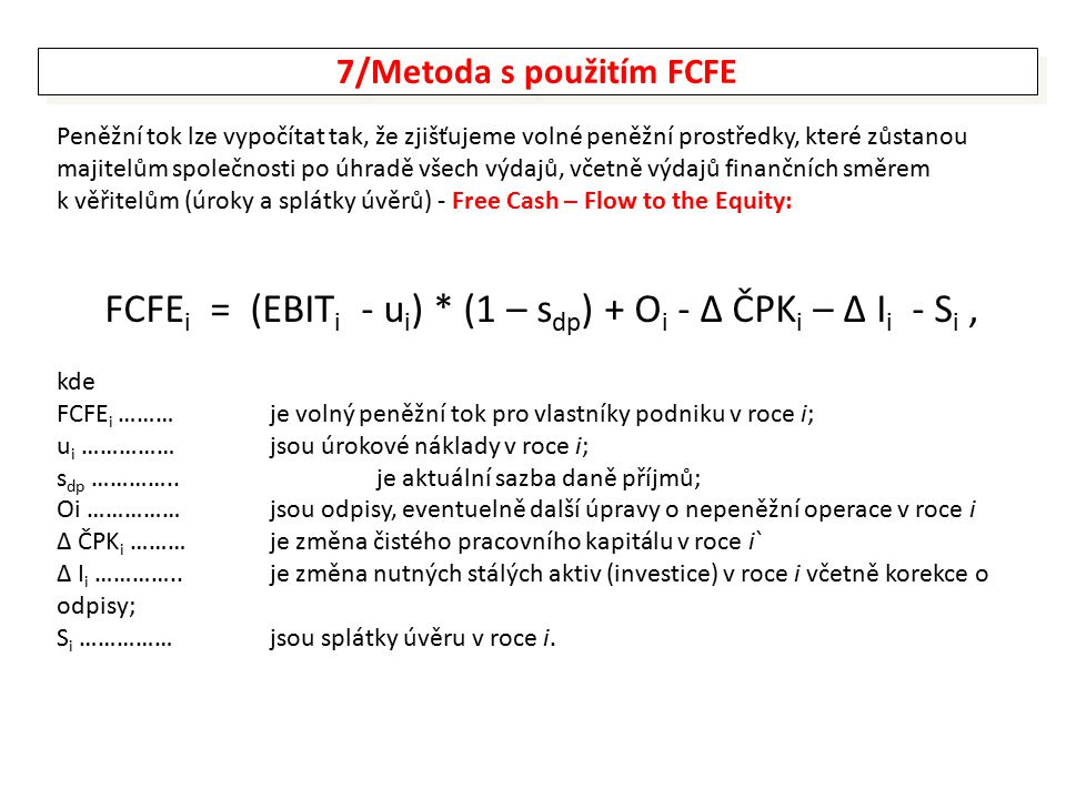 7/Metoda s použitím FCFE