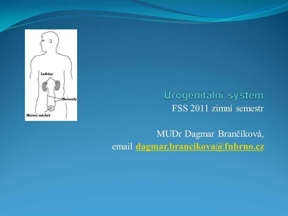 Urogenitální systém FSS 2011 zimní semestr MUDr Dagmar Brančíková,