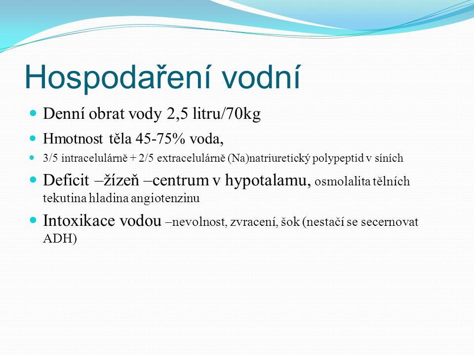 Hospodaření vodní Denní obrat vody 2,5 litru/70kg