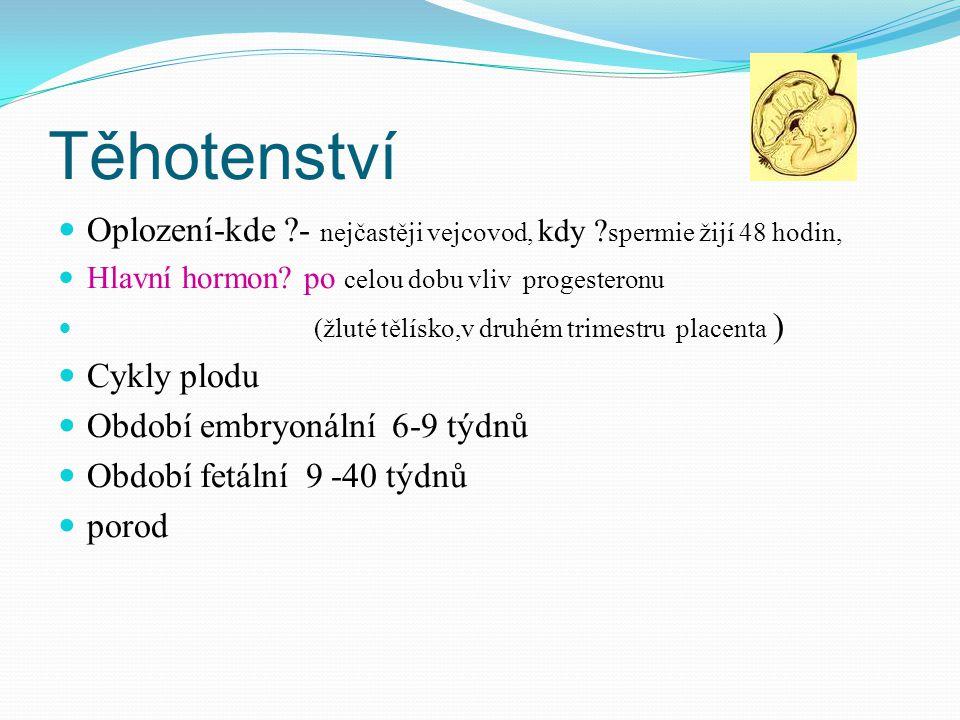 Těhotenství Oplození-kde - nejčastěji vejcovod, kdy spermie žijí 48 hodin, Hlavní hormon po celou dobu vliv progesteronu.