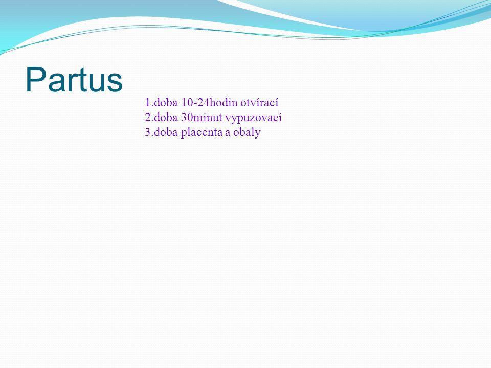 Partus 1.doba 10-24hodin otvírací 2.doba 30minut vypuzovací