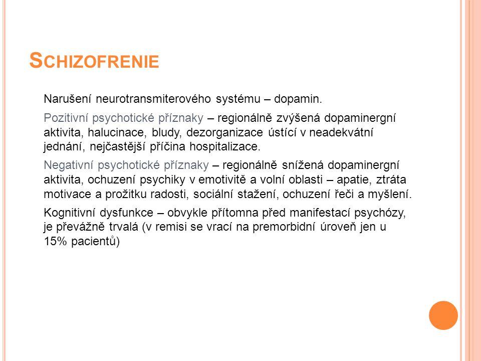 Schizofrenie Narušení neurotransmiterového systému – dopamin.