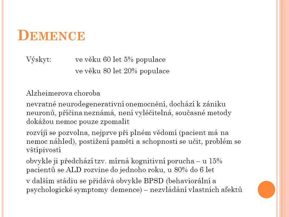Demence Výskyt: ve věku 60 let 5% populace ve věku 80 let 20% populace