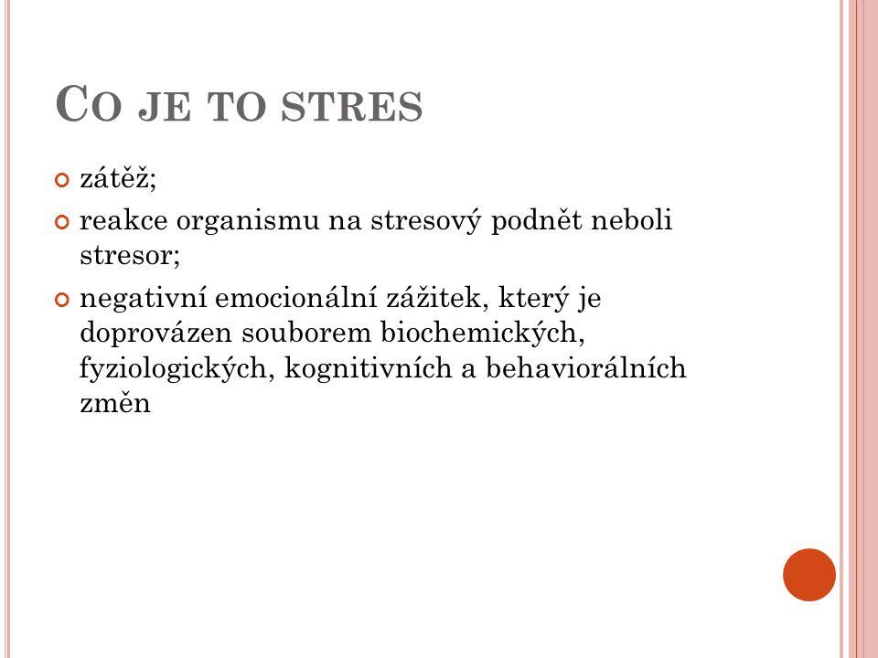 Co je to stres zátěž; reakce organismu na stresový podnět neboli stresor;