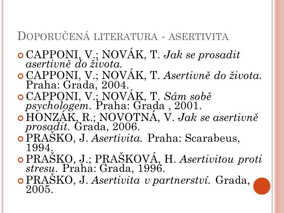 Doporučená literatura - asertivita
