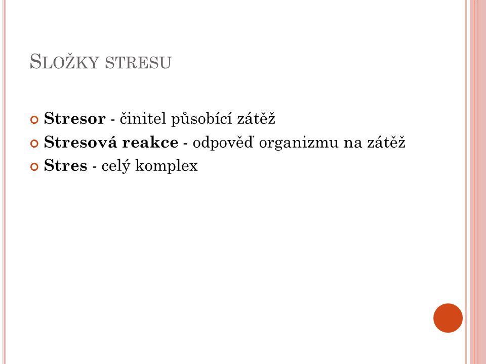 Složky stresu Stresor - činitel působící zátěž
