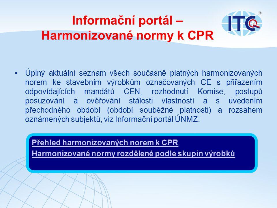 Informační portál – Harmonizované normy k CPR