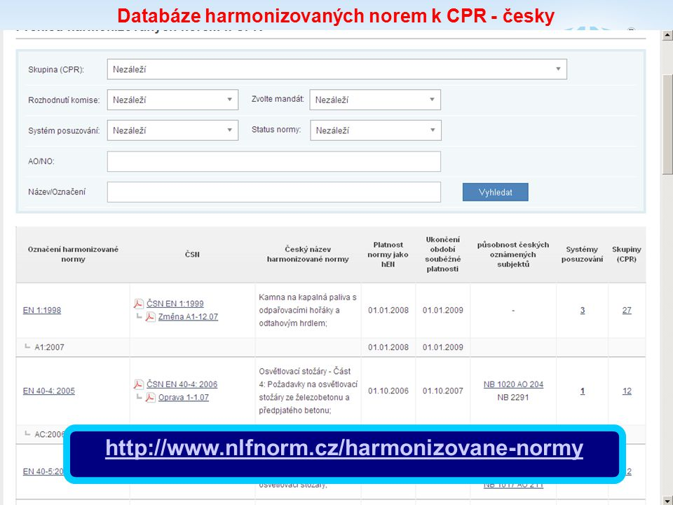 Databáze harmonizovaných norem k CPR - česky