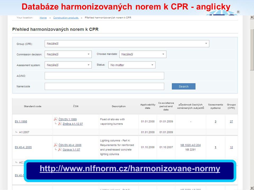 Databáze harmonizovaných norem k CPR - anglicky