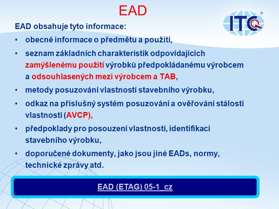 EAD EAD obsahuje tyto informace: