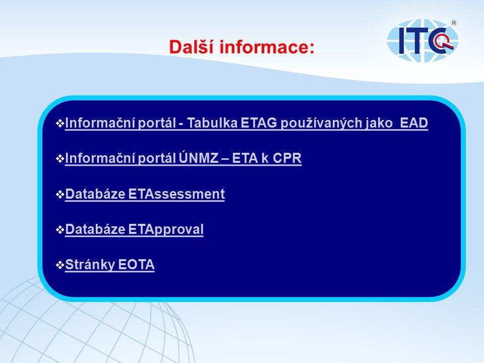 Další informace: Informační portál - Tabulka ETAG používaných jako EAD