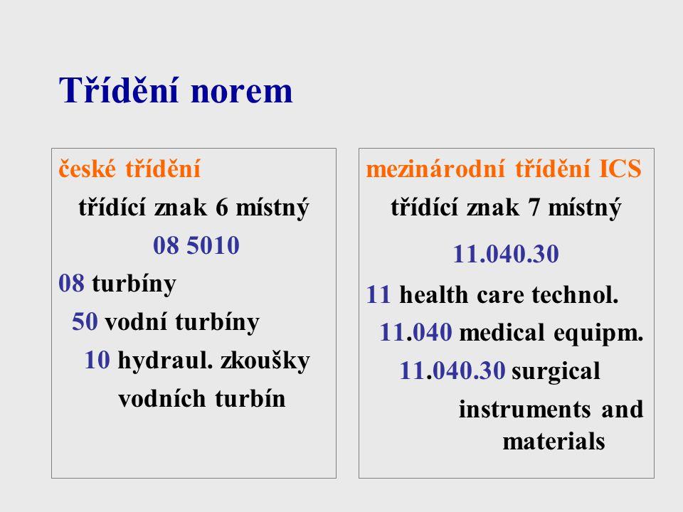 Třídění norem české třídění třídící znak 6 místný 08 5010 08 turbíny