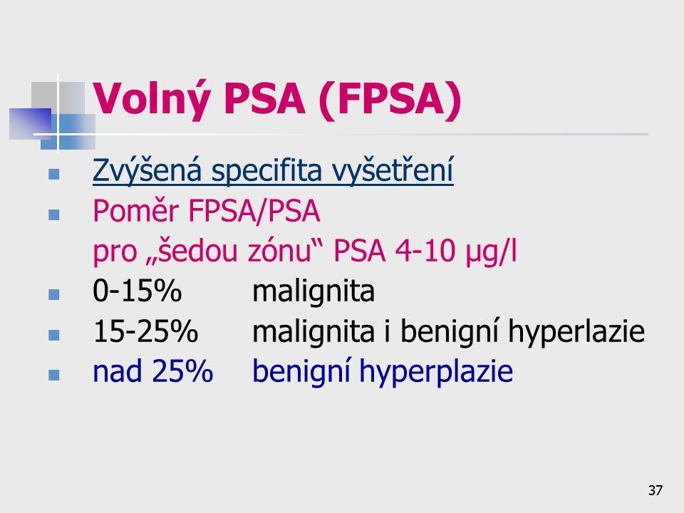 Volný PSA (FPSA) Zvýšená specifita vyšetření Poměr FPSA/PSA