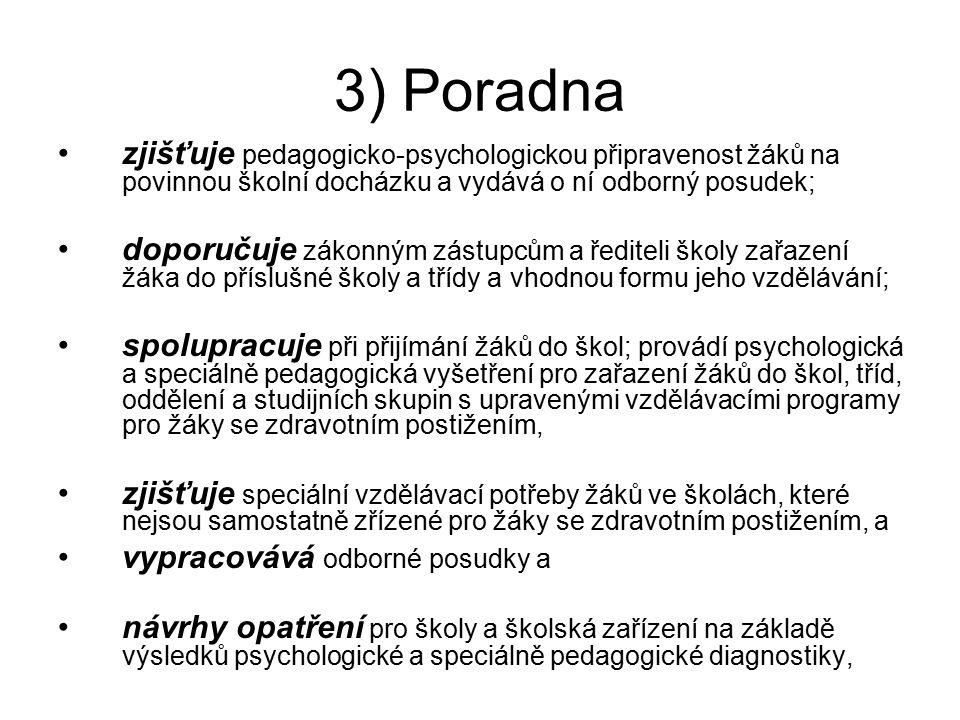 3) Poradna zjišťuje pedagogicko-psychologickou připravenost žáků na povinnou školní docházku a vydává o ní odborný posudek;