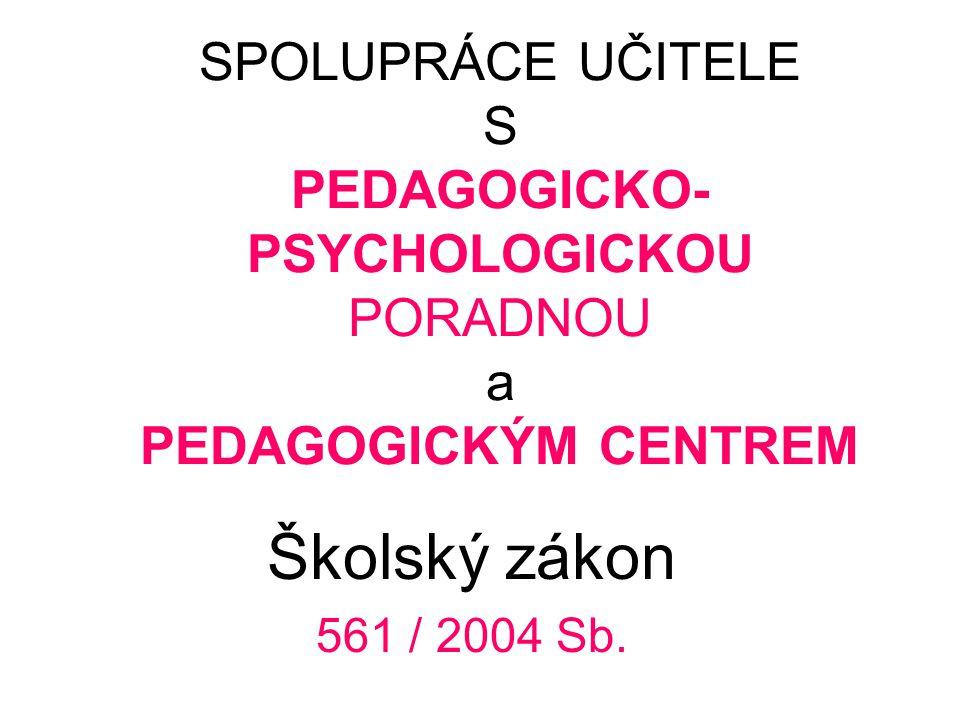 SPOLUPRÁCE UČITELE S PEDAGOGICKO-PSYCHOLOGICKOU PORADNOU a PEDAGOGICKÝM CENTREM