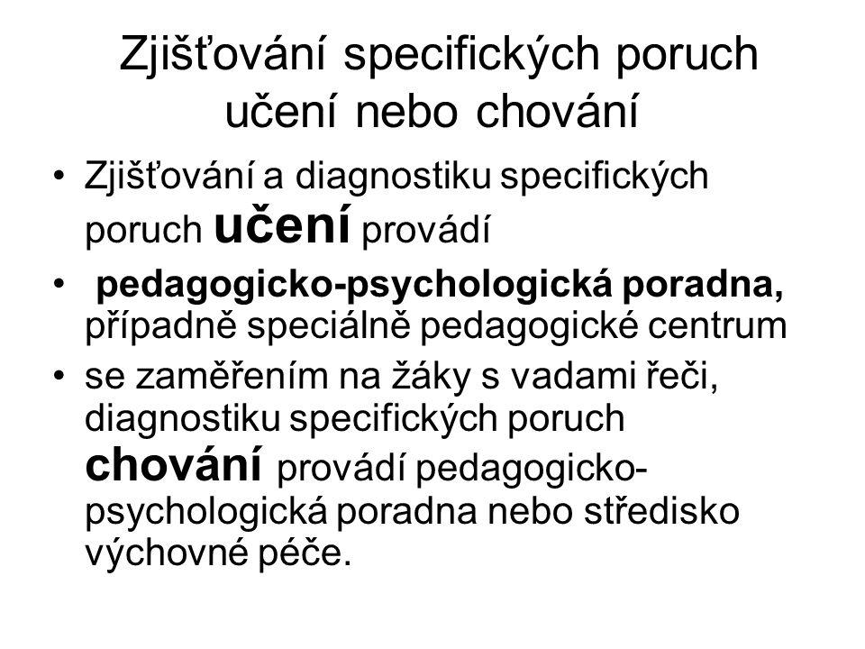 Zjišťování specifických poruch učení nebo chování
