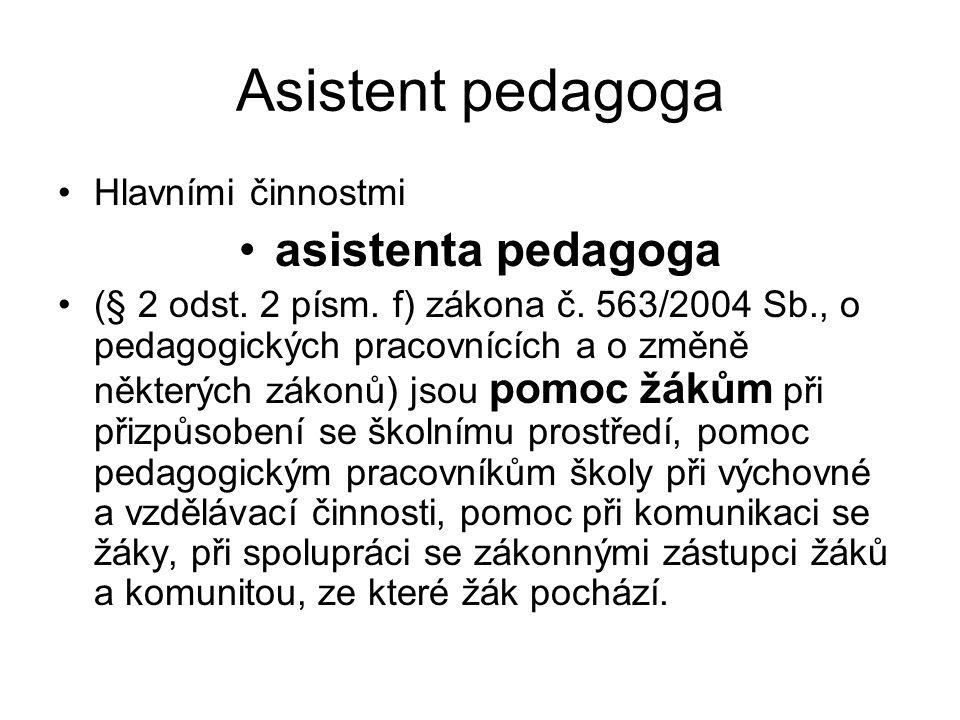 Asistent pedagoga asistenta pedagoga Hlavními činnostmi
