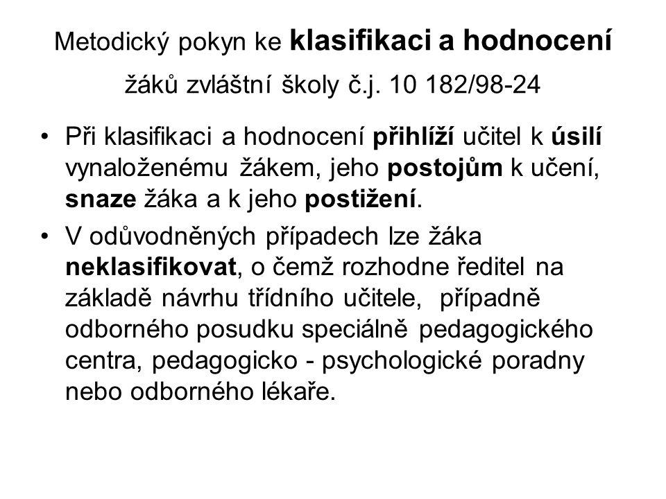 Metodický pokyn ke klasifikaci a hodnocení žáků zvláštní školy č. j