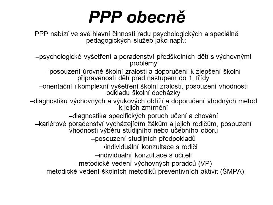 PPP obecně PPP nabízí ve své hlavní činnosti řadu psychologických a speciálně pedagogických služeb jako např.: