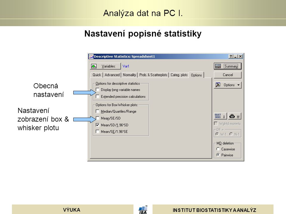 Nastavení popisné statistiky
