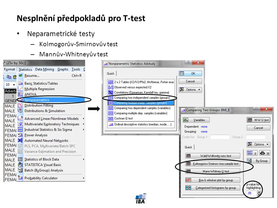 Nesplnění předpokladů pro T-test
