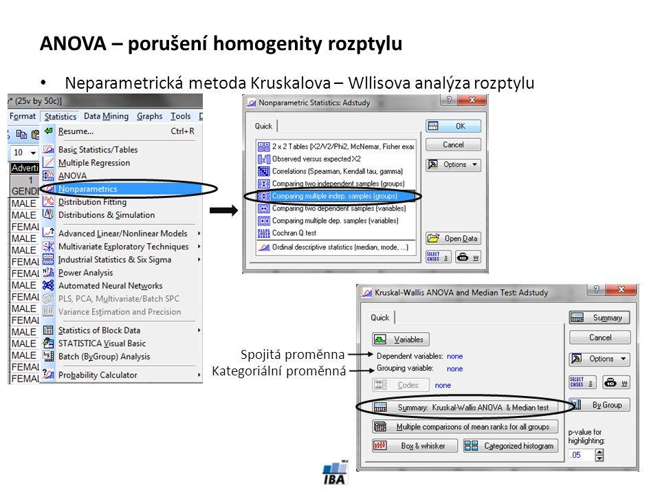 ANOVA – porušení homogenity rozptylu