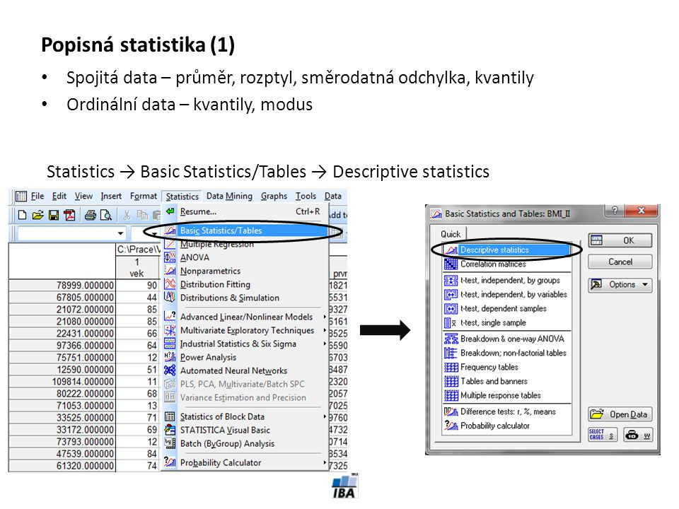 Popisná statistika (1) Spojitá data – průměr, rozptyl, směrodatná odchylka, kvantily. Ordinální data – kvantily, modus.