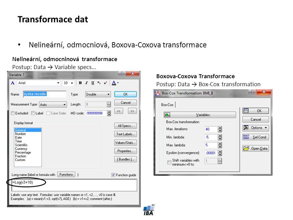 Transformace dat Nelineární, odmocniová, Boxova-Coxova transformace