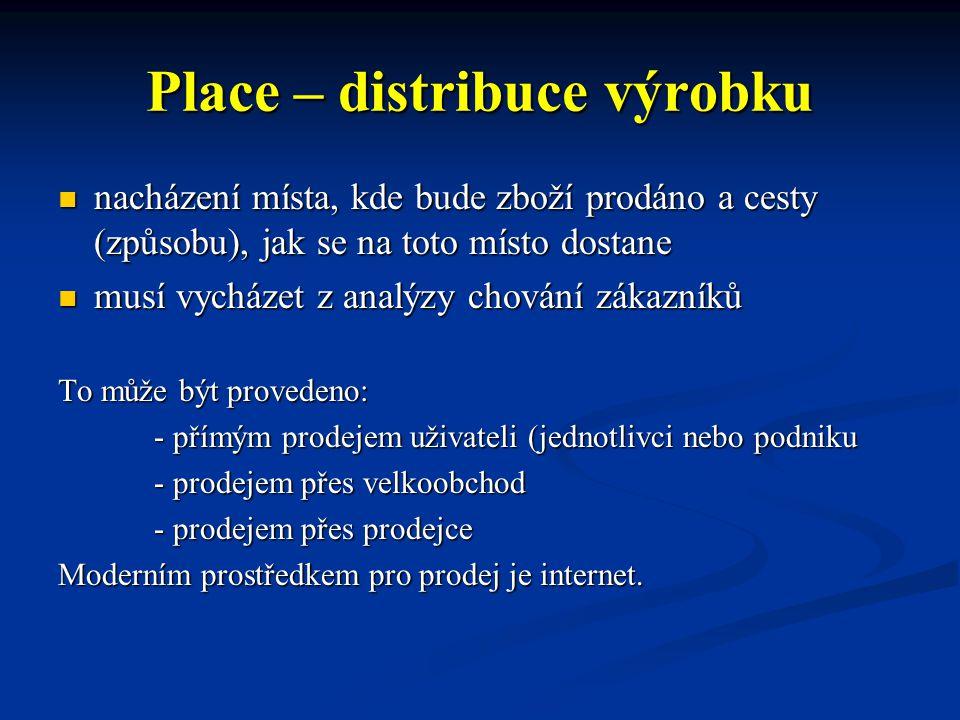 Place – distribuce výrobku