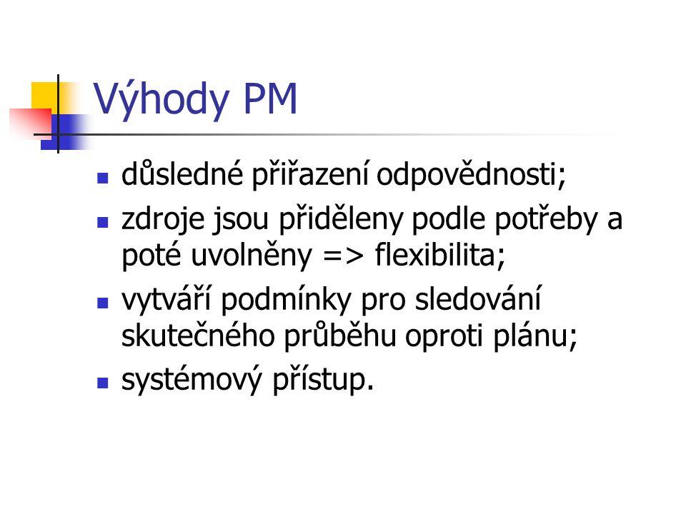 Výhody PM důsledné přiřazení odpovědnosti;