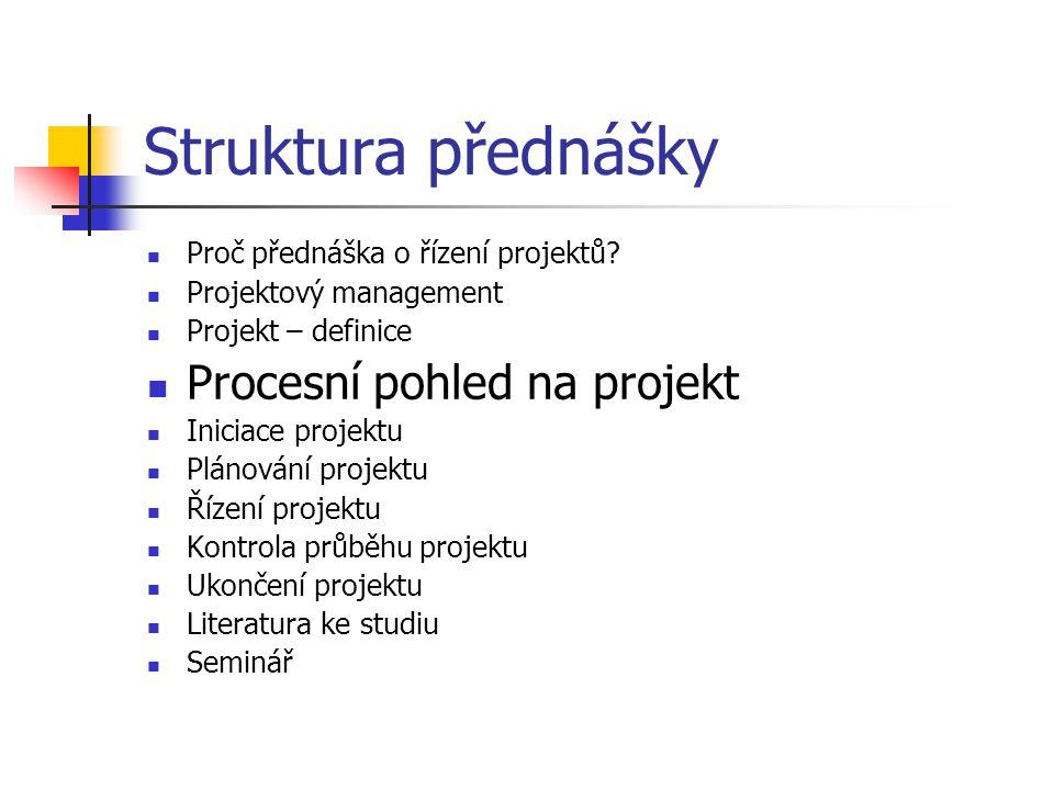 Struktura přednášky Procesní pohled na projekt