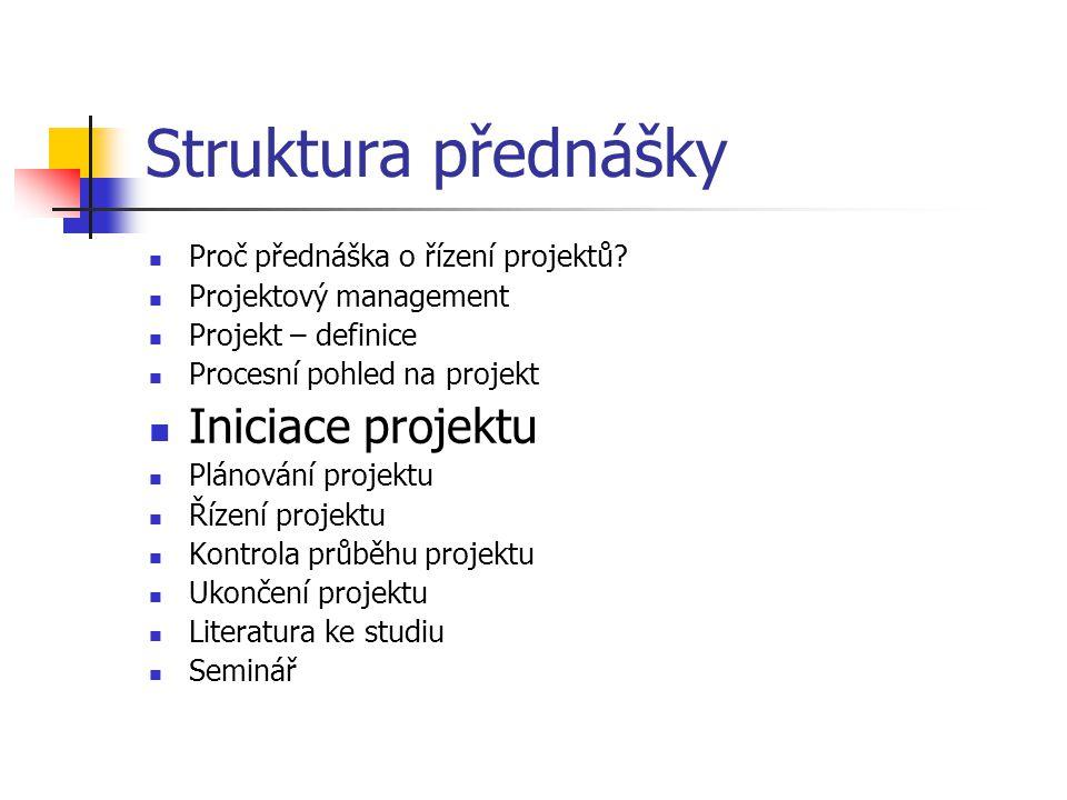 Struktura přednášky Iniciace projektu