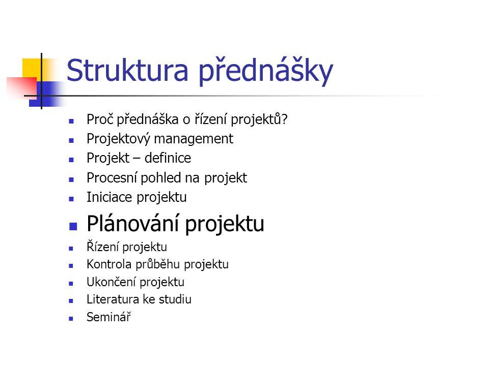 Struktura přednášky Plánování projektu