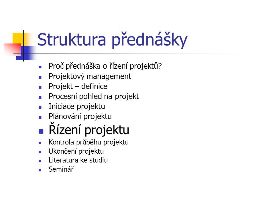 Struktura přednášky Řízení projektu Proč přednáška o řízení projektů