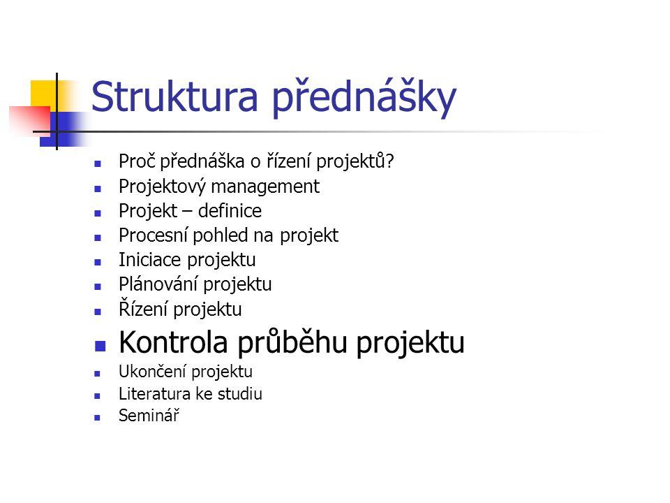 Struktura přednášky Kontrola průběhu projektu