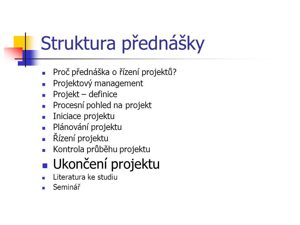 Struktura přednášky Ukončení projektu