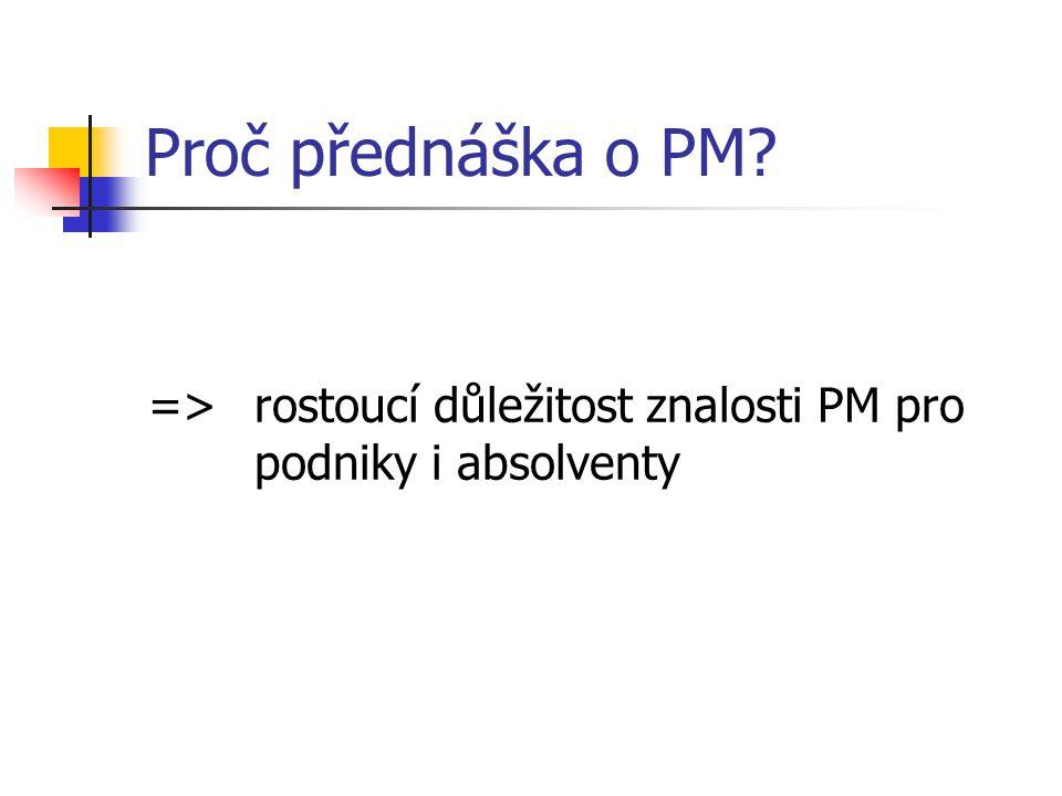 Proč přednáška o PM => rostoucí důležitost znalosti PM pro podniky i absolventy