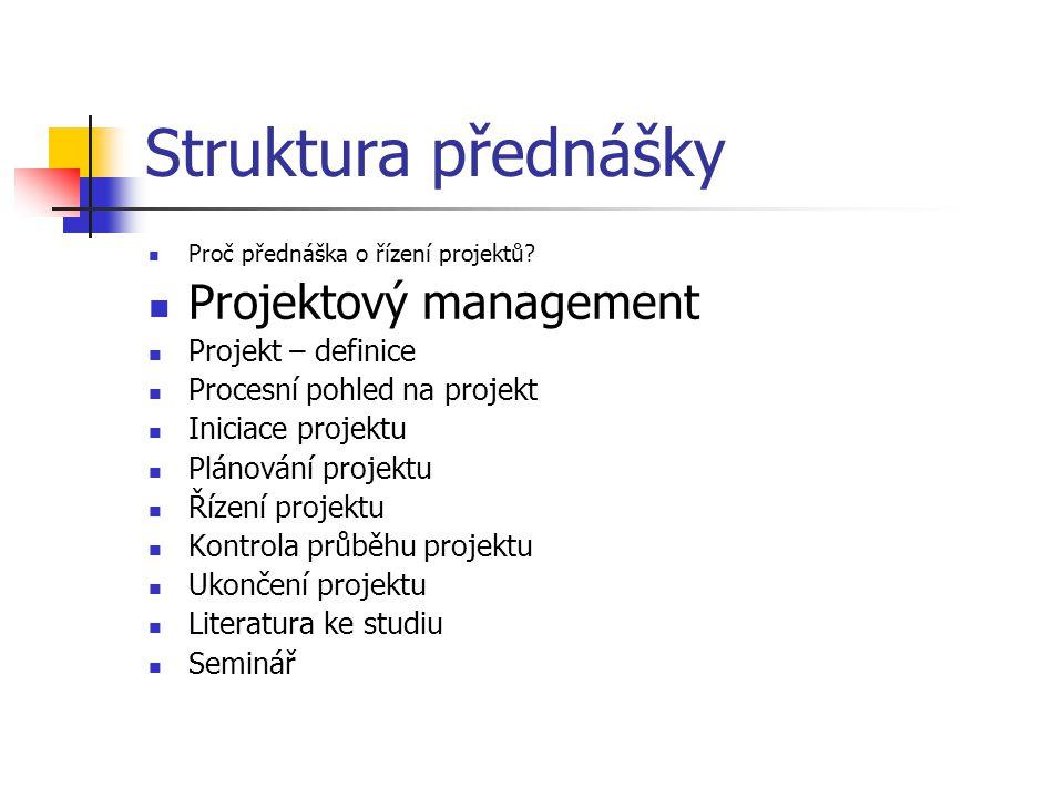 Struktura přednášky Projektový management Projekt – definice