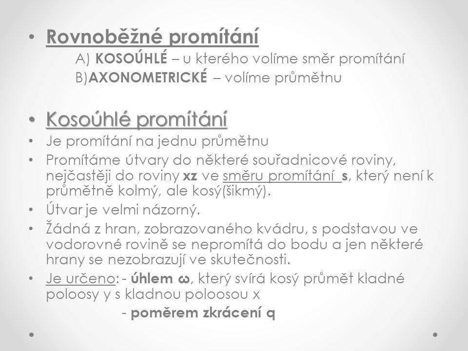 Rovnoběžné promítání Kosoúhlé promítání