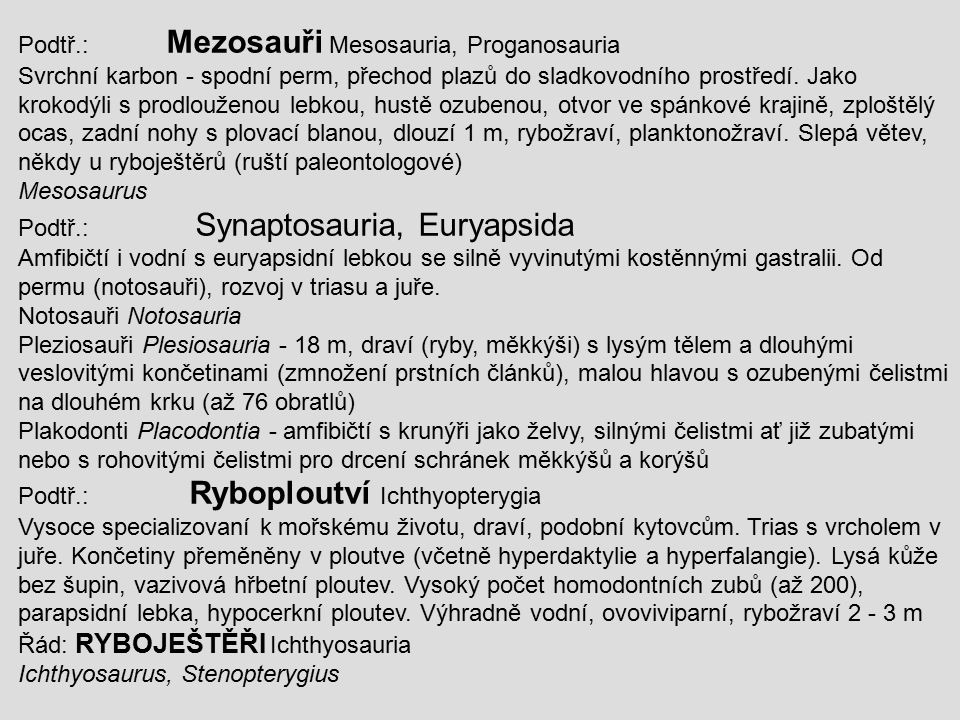 Podtř.: Mezosauři Mesosauria, Proganosauria