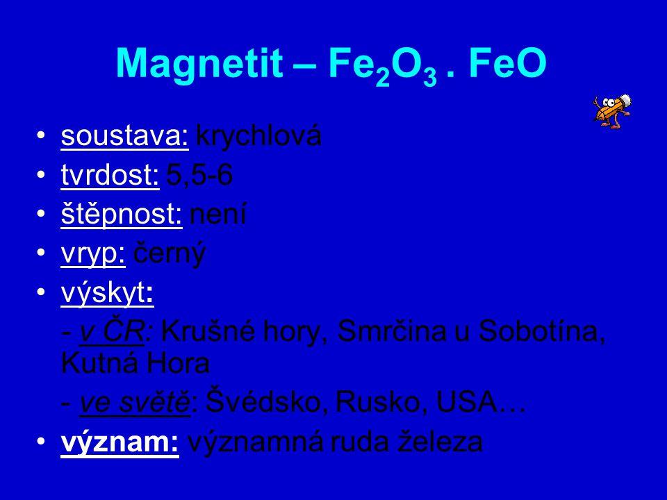 Magnetit – Fe2O3 . FeO soustava: krychlová tvrdost: 5,5-6